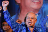 Malaysia&#039;s Prime Minister and Barisan Nasional (BN) chairman Najib Razak celebrates his election victory in Kuala Lumpur.
